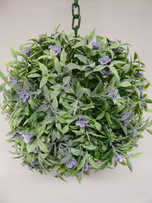 20cm Green with Purple Flowers Hanging Topiary Ball