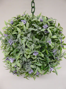 18cm Green with Purple Flowers Hanging Topiary Ball