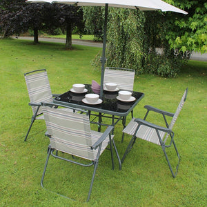 Green and Grey Stripe 4 Seater Garden Dining Set with Garden Parasol Umbrella