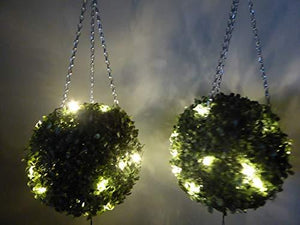 Set of 2 Large 25cm Artificial LIT LED Topiary Balls - Battery Operated with Timer Green Hanging Topiary Ball with Lights