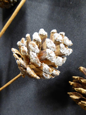 55cm SILVER Glitter Artificial Pine Cone Stem Christmas Decoration