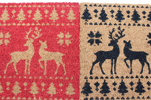 UK-Gardens RED 40x60cm Reindeer Christmas Outdoor Door Mat