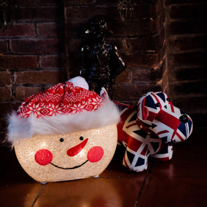 UK Gardens 33cm Snowman Lit Head Christmas Home Decoration