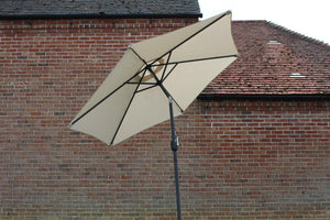 Large 2.5m Beige Metal Crank And Tilt Garden Parasol Umbrella
