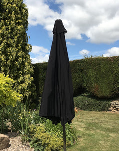Large 3m Black Crank And Tilt Garden Parasol Umbrella 300cm  Metal Pole