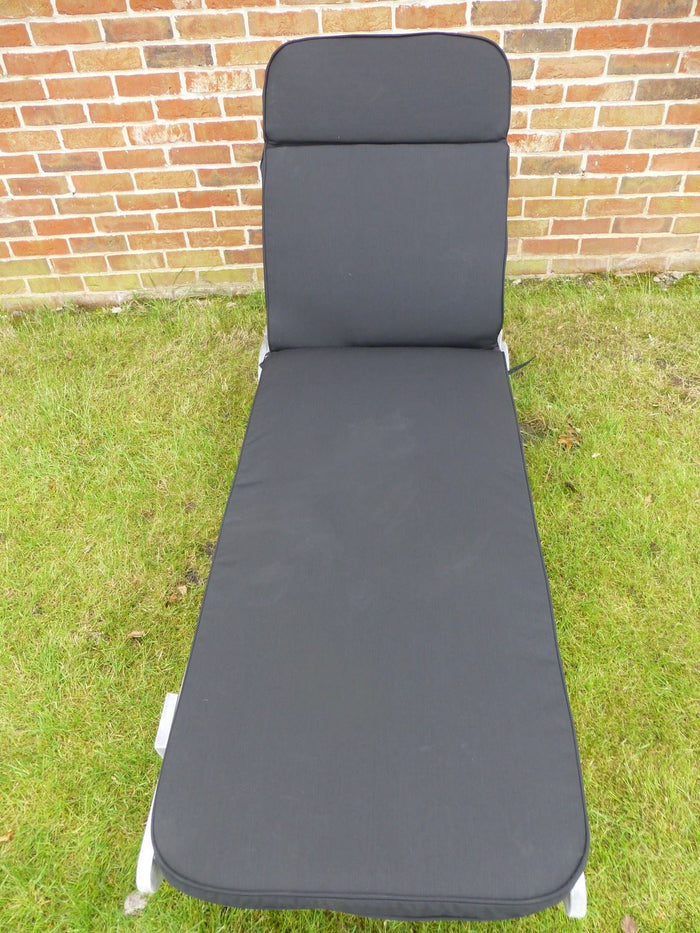 Garden Furniture Cushion - Black Cushion For Garden Sun Lounger Chair 198x60x5