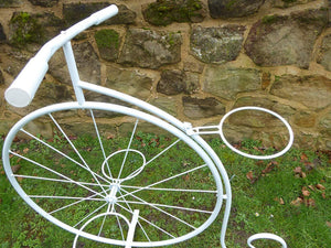 White Metal Penny Farthing Bicycle Plant Stand Garden Planter Holds 3 Plant Pots