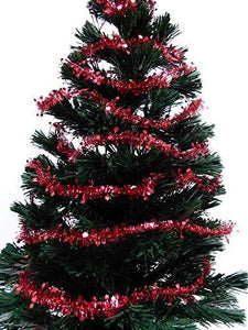 10m Mini Star Red / Gold / Silver Tinsel Christmas Decoration Xmas Tree Garland - 10 Metres (Red)