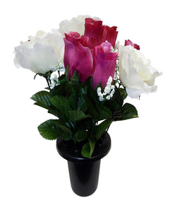 30cm Dark Pink and White Rose Decorative Grave Pot