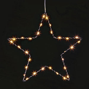 30cm Wire Frame Xmas Decoration 30 LED Lights BO Star Tree or Heart