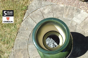 UK Gardens 129cm Extra Large Chimenea with Lid and Stand in Glazed Green
