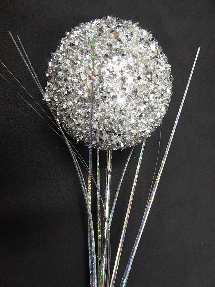 SILVER 60cm Artificial Glitter Ball Stem Christmas Decoration