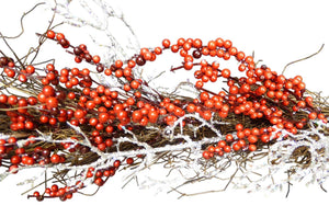 180cm Luxury Red Berry Silver Twig Garland