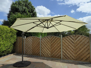 Large 3.5m Crank And Tilt 360 Garden Parasol - Beige