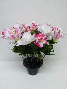 Artificial Plants -Large 40cm Pink Lily and White Rose Grave Side Flowers in Memorial Pot