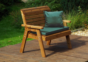 UK-Gardens 2 Seat Bench with Green Cushions and Cover - DELIVERY MID-END MAY 2021