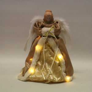 UK-Gardens 30cm Gold Fiary Angel Tree Topper with LED Battery Operated Lights