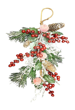 Christmas Decoration Artificial Red Berry Holly Silver Swag Indoor