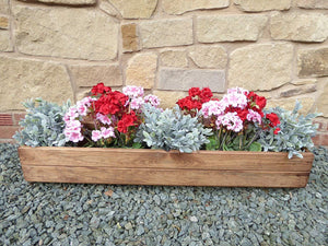 Heavy Duty Large Rectangular Wooden Window Box Garden Planter Trough - 102 x 28 x 15.5cm - UK Handmade Fully Assembled