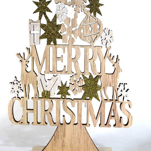 UK-Gardens 27cm Gold Glitter Christmas Wooden Tree Stand Up Decoration