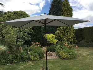 Large Hardwood 2m x 3m Light Grey Wooden Pulley Garden Parasol Umbrella