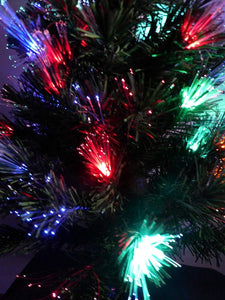 90cm 3ft Green Fibre Optic Christmas Tree Colour Changing With Multi-Coloured LED Lights & Star Topper