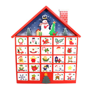 UK-Gardens 40cm Red Wooden Door House Advent Calender with Snowman 24 Doors