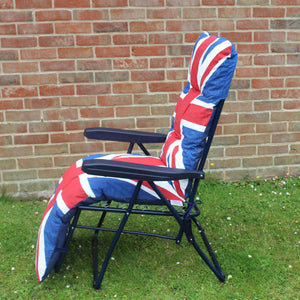 Union Jack Garden Sun Lounger Chair With Cushion