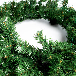 UK Gardens 60cm Bo Lit Green Christmas Garland Decoration Wreath 60 Lights