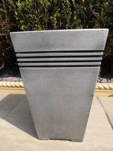 Tall Square Planter - Grey With Lines