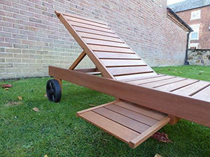 UK-Gardens Wooden Wheeled Sun Lounger with Slide out Table, No Cushion
