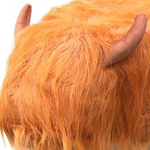 UK Gardens 61cm Soft Brown Highland Cow Synthetic Fur Footstool