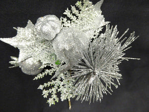 SILVER Holly Christmas Pick Stem Decoration Christmas Decorations