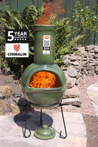 UK Gardens 105cm Large Chimenea Glazed Green with Lid and Stand