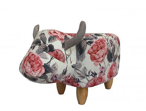 UK Gardens 61cm Floral Printed Cow Animal Footstool Pouffe