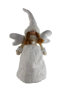 UK-Gardens 35cm White Lace Angel Fairy Tree Topper Heavy Duty Plastic Stand
