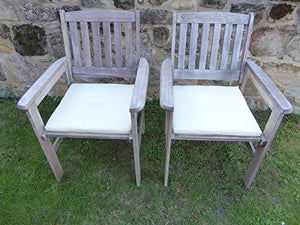 UK-Gardens SET OF 2 Antique Grey Wooden Garden Dining Chair Armchairs with CREAM Cushions