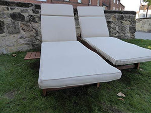UK-Gardens Wooden Wheeled Sun Lounger with Slide out Table and Cushion (Beige)