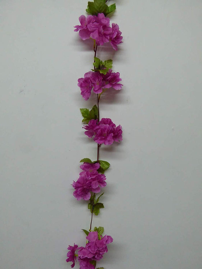 Decorations - Artificial Plant -2m 6' Long Blossom Garland With Foliage - Decorative Artificial Flowers - 3 Colours (Dark Pink)