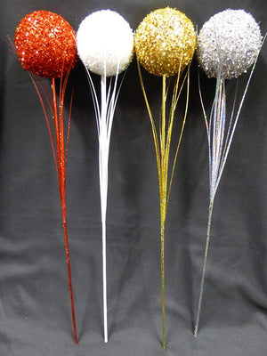 RED 60cm Artificial Glitter Ball Stem Christmas Decoration