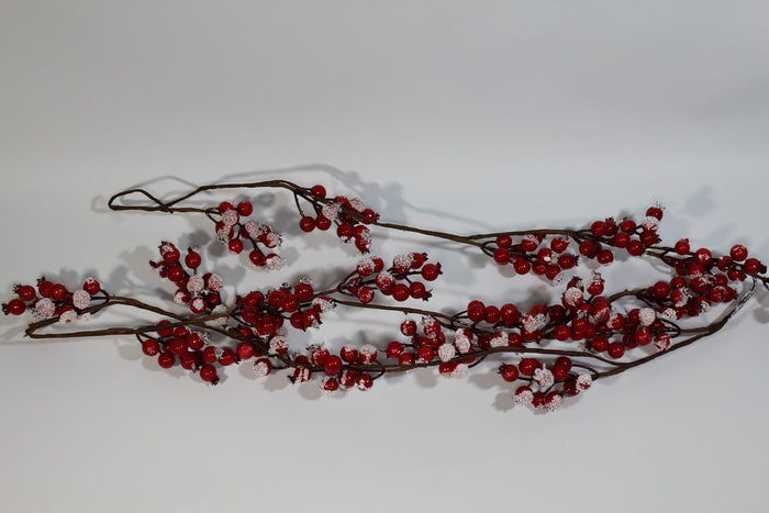 150cm 5ft Frosted Berry Garland Christmas Decoration Snow Winter