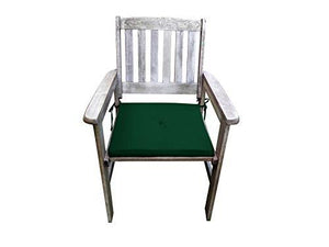 UK-Gardens Antique Grey Wooden Garden Dining Chair Armchair with GREEN Cushion