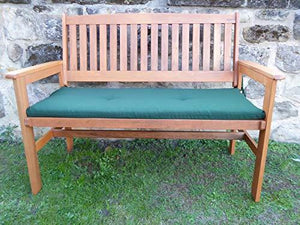 UK-Gardens Heavy Duty Wooden 2 Seater Garden Bench With GREEN Bench Cushion