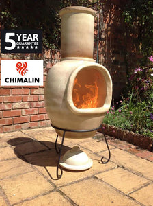 UK Gardens 129cm Extra Large Chimenea with Lid and Stand in Glazed Cappucino