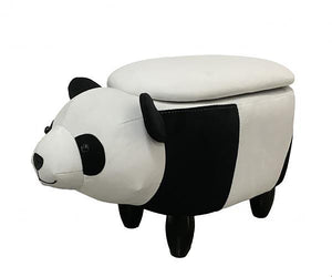 UK Gardens 59cm Black and White Panda Velvet Fabric Footstool with Storage