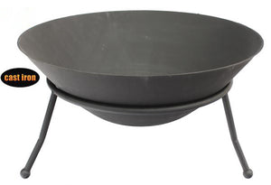 UK Gardens 60cm Medium Metal Fire Bowl Durable Cast Iron Easy to Assemble