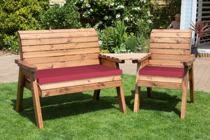 UK-Gardens 2 Seat Bench and Armchair Set with Angled Tray Burgundy Cushions and Cover - DELIVERY MID-END MAY 2021