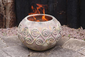 UK-Gardens Large Outdoor Patio Firepit Hand-Made Mexican Clay Earthy Brown