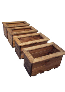 UK-Gardens 4pcs Wooden Outdoor Small Rectangular Trough Set