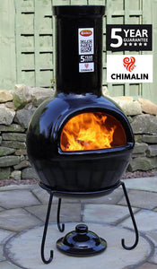 UK Gardens 105cm Large Chimenea Glazed Black with Lid and Stand